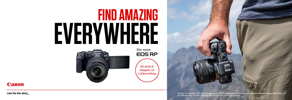 FIND AMAZING EVERYWHERE – Die neue Canon EOS RP. Ab sofort bei europafoto KLINGER in Leipzig erhältlich! – Canon · Live for the story ...